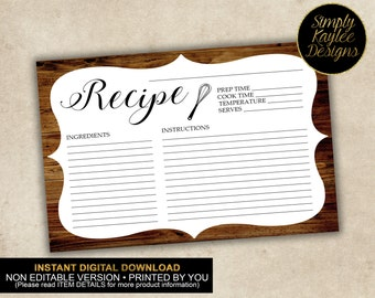 INSTANT DOWNLOAD Rustic Wood Recipe Card