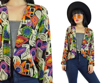 vintage 90s abstract duster jacket POP art neon vivid pastel grunge cropped jacket gauzy geometric festival top medium large