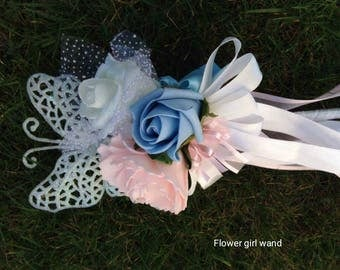 Flower girl  wand (blue,pink& Ivory)