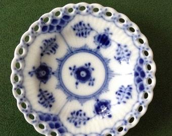 Royal Copenhagen Denmark Blue Fluted Open Lace Small Side Dish