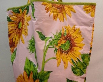 Oilcloth beach bag / sunflowers / sunflower vinyl beach bag / purse