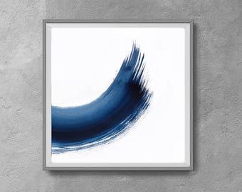 Wall Art 12x12, Abstract Wall Art, Abstract , Blue Print, Scandinavian Design, Minimalist Art, white and navy blue, light blue, indigo