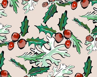 Holly Wrapping Paper with light ground - 3 large sheets to a roll