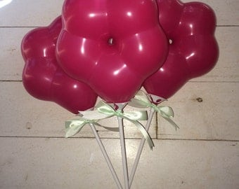 """8 pack 6"""" pink flower balloons on stick bespoke made to order in any colour with green ribbon"""