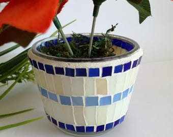 Mosaic decorative glass pot for plants, Navy idea for seaman, Great gift for moms, godmothers, stepmothers, garderners, Blue white for patio