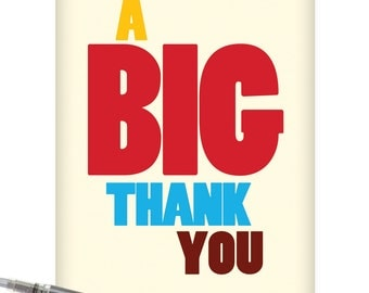 J9689 Jumbo Funny Thank You Card: Big Thank You With Envelope (Extra Large Version 8.5'' x 11'')