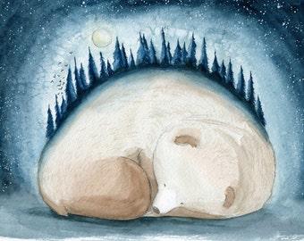 Sleeping Forest Bear Print
