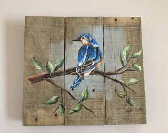 Spring Bird Pallet Painting, Distressed Wood Art, Pallet Art