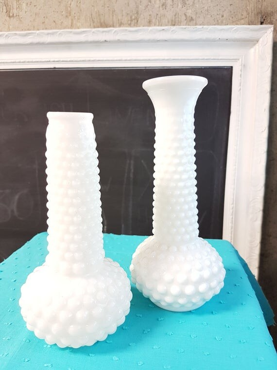 Vintage Hobnail Vase Milkglass Vase Milk Glass Hobnail