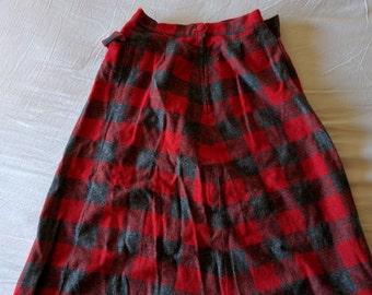 1950 handmade wool plaid skirt xs-s