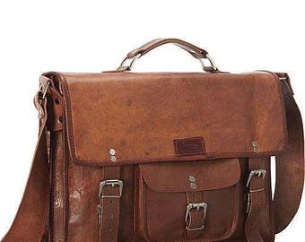 Genuine Leather Laptop Brief and Messenger Bag