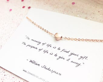 Tiny Heart Bracelet, tiny rose gold heart bracelet, heart bracelet, dainty heart bracelet, meaningful gifts, bridesmaid gift, inspirational
