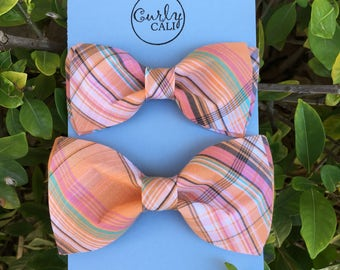 Father/ Son Spring Plaid Bow Tie Set