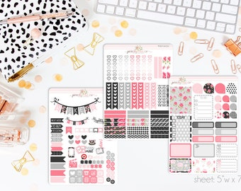Midnight Rose VERTICAL Weekly Kit // 140+ Matte Planner Stickers // Perfect for your Erin Condren Life Planner // WKV0070