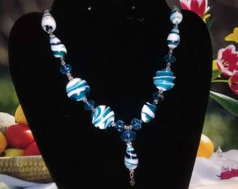 Blue and white swirl Necklace