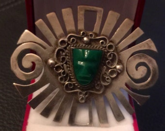 Made in Mexico Sterling Silver Green Onyx Brooch