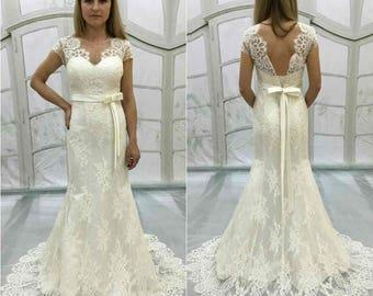 Boho Vintage Inspired Fully Lace Mermaid Wedding Dress , Bohemian Style, Open V cut Lace Transparent Back,Long Skirt,