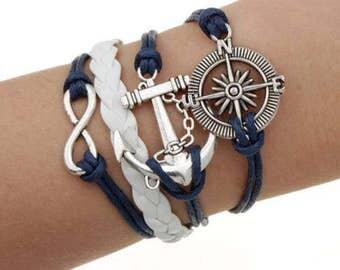 Nautical Navy and White Multistrand Bracelet