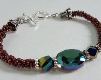 Faceted Iridescent Kumihimo Braided Bracelet