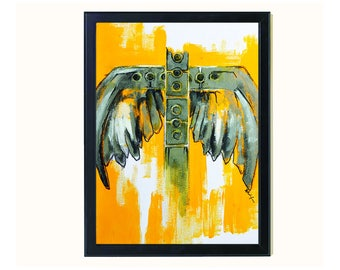 A3 Original Art Poster, Yellow Wall Hanging Decor, Abstract Surreal Painting Drawing Sketch