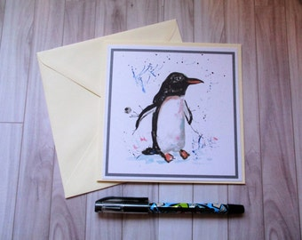 Penguin greetings card, blank card, greetings card, birthday card, note card, thank you card, penguin blank card, penguin birthday card