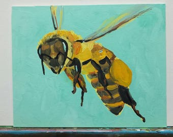 Original Acrylic painting by Wilena Honey bee Pollinator Bee Keeper Beekeeping Bees