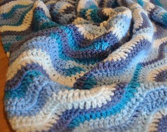 Blue Crochet Ripple Baby Blanket
