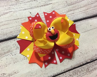 Elmo Hair Bow Elmo Stacked Hair Bow Elmo Boutique Hair Bows Girls Hair Bow Sesame Street Hair Bow Baby Headband