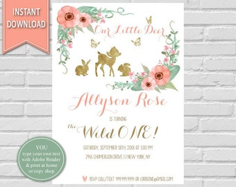 First Birthday Watercolor Flowers| Deer,Woodland Birthday Invitation,Deer Invitation,Woodland Invitation,1st Birthday,Woodland Animals