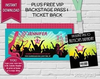 Rock Star Ticket Invitation | Printable invitation, Birthday, Concert Ticket, Rock Star Invitation, Rock Star Party, Music Invitation,