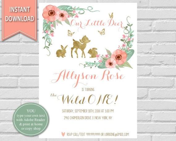 First birthday watercolor flowers deerwoodland birthday invitation il570xn filmwisefo
