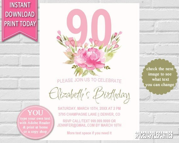 Birthday Invitation 90th Birthday Watercolor Flowers Birthday
