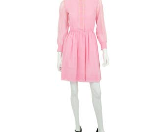 1950's Vintage Women's XS Bubblegum Pink Lace Trimmed Shirt Dress Mandarin Collar Western