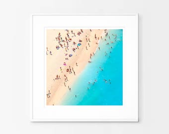 Beach Print, Aerial Beach Photography, Beach Art, People on the Beach, Coastal Prints, Ocean Art, Landscape Wall Art, Printable Photo Print