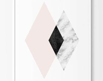 Geometric Diamond  Art,Abstract Prints,Abstract Prints, Nordic Art, Minimalist Art Prints, Geometric Prints,Pink Geometric, Diamond Print