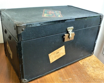 Vintage toy travel trunk shop display film prop luggage case with labels Royal Scot Steam train // dolls bears childs Small trunk