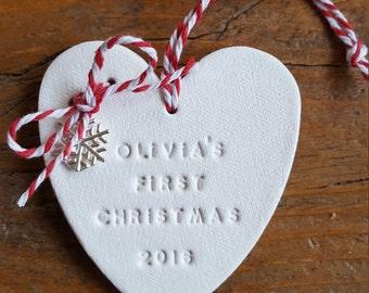 First Christmas Ornament ~ Christmas Decor ~ Personalized Christmas Ornament ~ Baby's First Christmas ~ Clay Christmas Ornament
