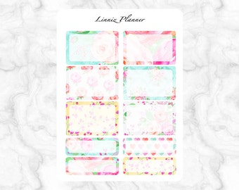 Watercolor Roses Half and Quarter Boxes (matte planner sticker, fits perfect in Erin Condren Life Planner Vertical)
