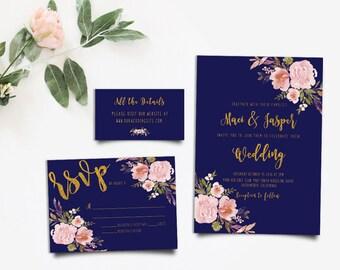 Gold Wedding Invite, Rustic Wedding Suite, Boho Chic Invite, Peony Invitation, Bohemian Invitation, Rustic RSVP Card DIY Invitation Suite