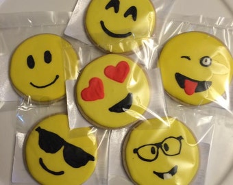 Emoji decorated sugar cookies