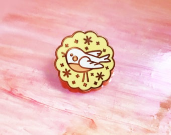 Bird Biscuit Rose Gold Hard Enamel Pin