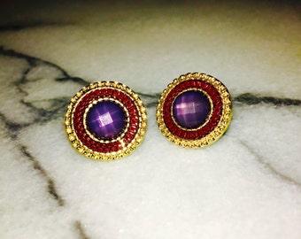 Jewel tone gold stud earrings - burgundy and blue