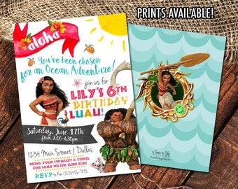 MOANA LUAU BIRTHDAY Invitations | Moana & Maui Birthday Party Invites