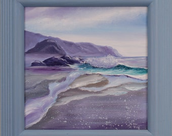 Purple Beach Painting, Coastal Landscape, Framed Art, Wave Painting, Fine Art, Ocean Art, Original Oil Painting, Seascape, A Quiet Moment