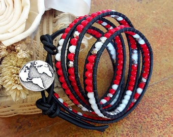 Red leather bracelet, bracelet boho, chan luu style, white, silver, wrap, gift idea, button world
