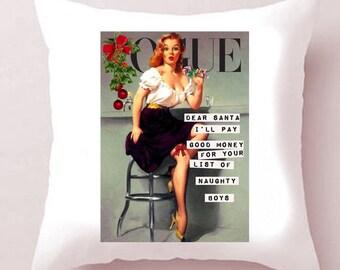 CHRISTMAS! White Satin Vogue Pin-Up Cushion - 'Dolores'