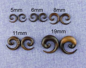 "Ear Weights,Earrings For Stretched Lobes,""Spiral"" 4 Gauge (5mm), 2 Gauge (6mm),0 Gauge (8mm),  3/4"" (19mm) Wood,Hand Carved"