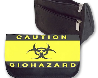 CAUTION BIOHAZARD Pencil case / Clutch or Make up bag. Back to School. Gift for Christmas or Birthday. Can be Peronalised.