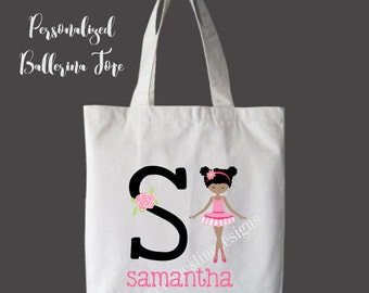 African American Personalized Girls Tote Bag Overnight Bag Dance Bag