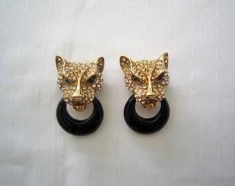 CASCIO vintage PANTHER EARRINGS
